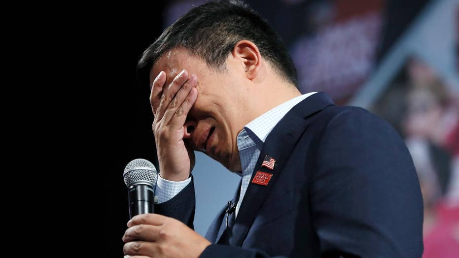 Andrew Yang gets emotional talking gun reform