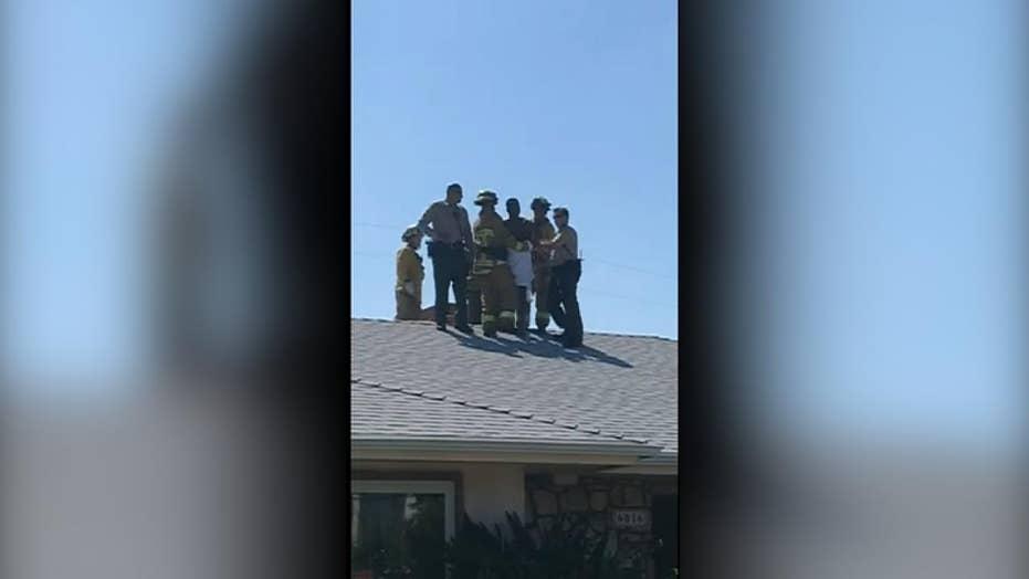Naked burglary suspect found stuck in chimney