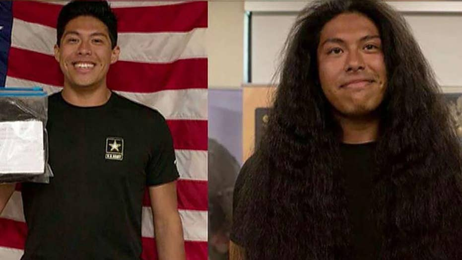 New soldier gets first haircut in 15 years