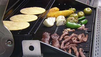 Rick's steak tacos with tomatillo salsa and grilled corn esquites