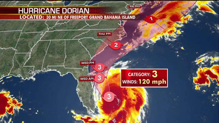 States of Emergency declared from Florida to Virginia as Hurricane Dorian approaches