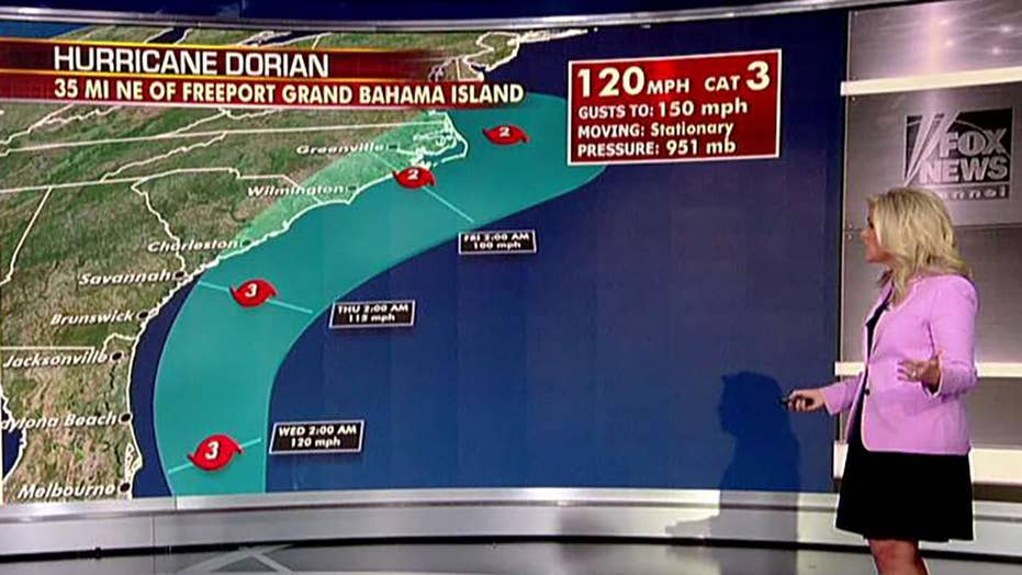 Dorian crawling off coast of Bahamas, cone expected to remain off Florida