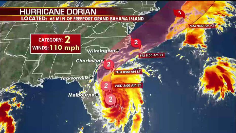 Hurricane Dorian slowly pulls away from the Bahamas, tracking north toward the Carolinas