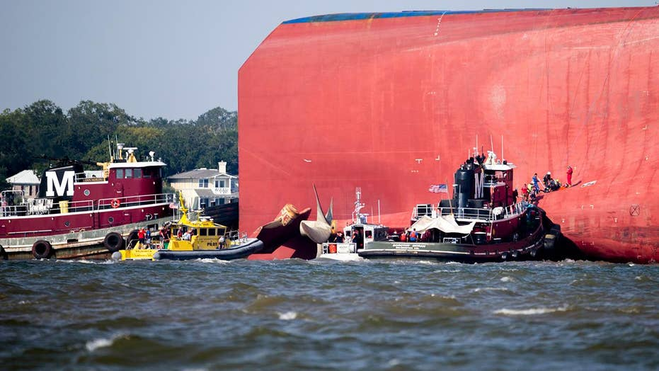 A closer look at the cargo ship that overturned off the coast of Georgia
