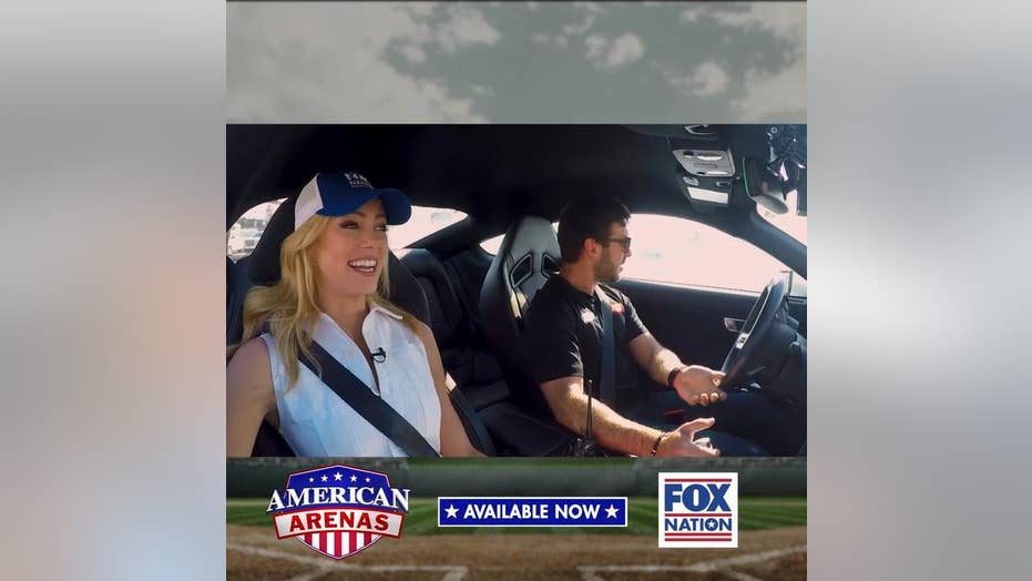 Behind the scenes: Fox Nation's Abby Hornacek spotted at Talledega with 'Elvis twins'