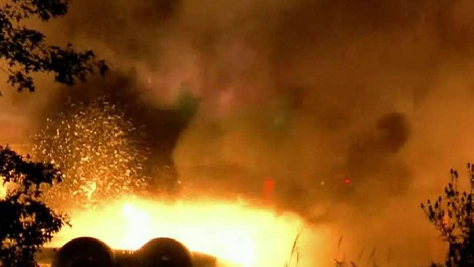 Cargo plane crashes, bursts into flames in Ohio