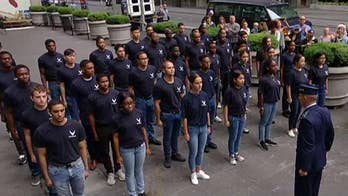 U.S. Air Force recruits take the oath of enlistment on the Fox Square