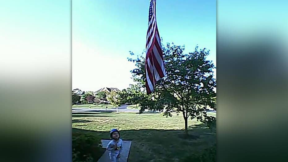 Boy seen reciting Pledge of Allegiance on family's video doorbell