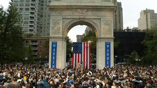 Trump, Warren attract massive crowds in dueling rallies