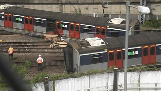 Passengers injured as train derails in Hong Kong
