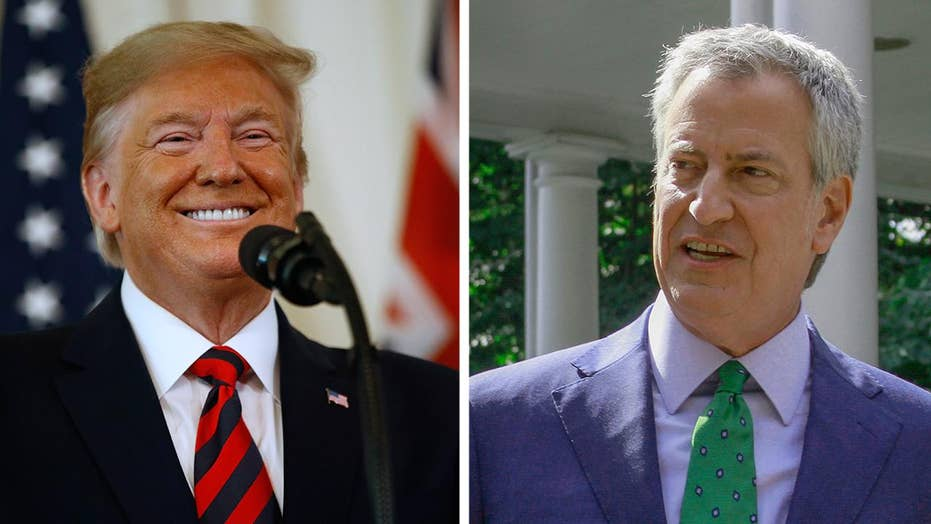 President Trump trolls Bill de Blasio, welcomes 'part time' mayor back to New York