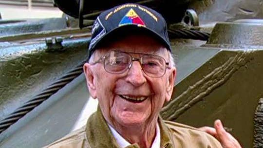 96-year-old Army veteran brings his WWII Sherman Tank to the Fox Square!