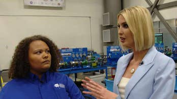 Steve and Ivanka Trump meet with a workforce development program student