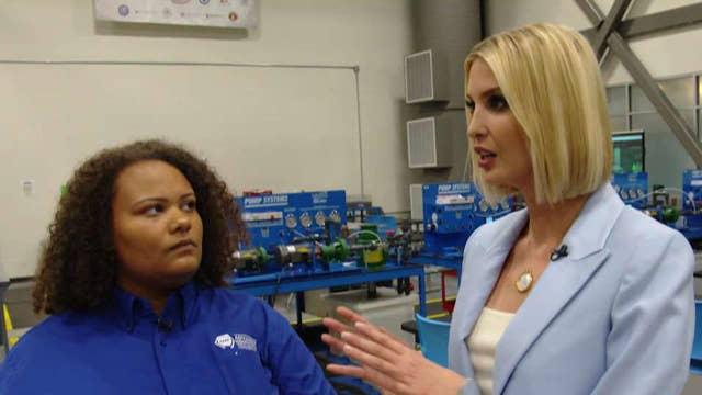 Steve and Ivanka Trump meet with a workforce development program student