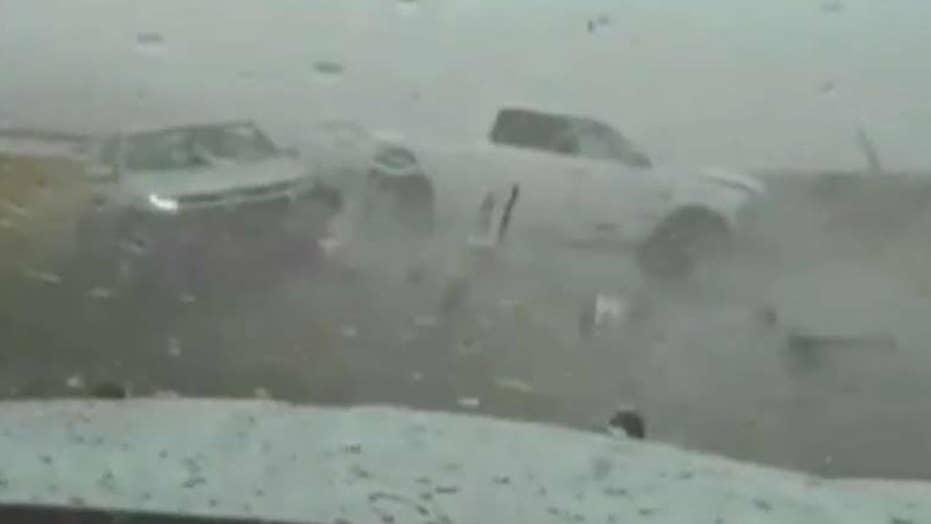 Pickup truck slams into patrol car on Utah highway
