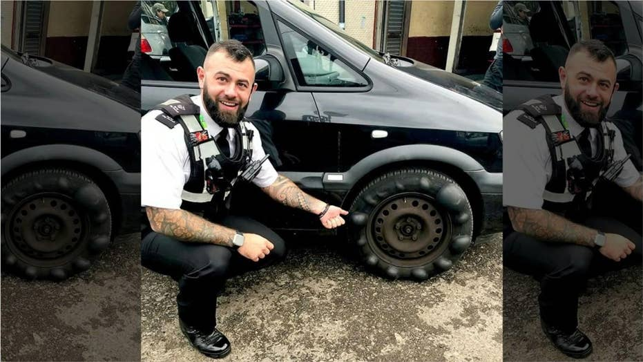 Bizarre bubbly tire prompts cops to pull this driver over
