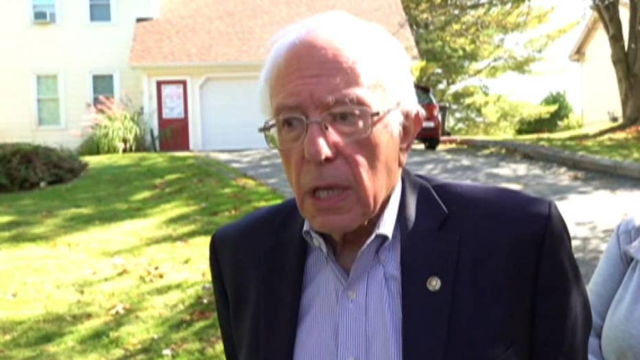 Bernie Sanders talks to the press in Vermont