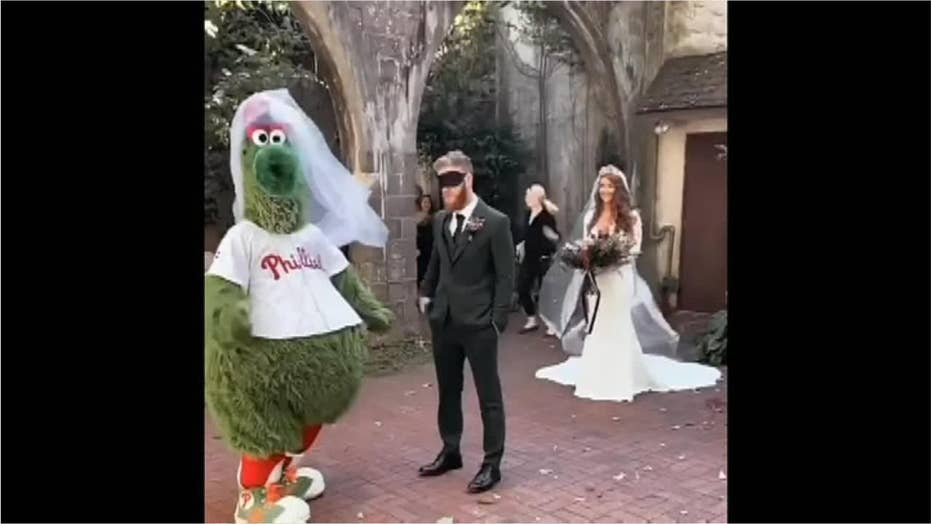 Man shocked to see baseball mascot, not bride, during first look prank