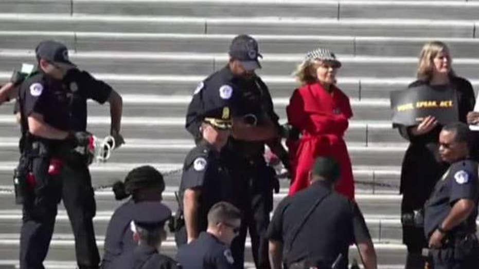 Jane Fonda arrested during climate protest