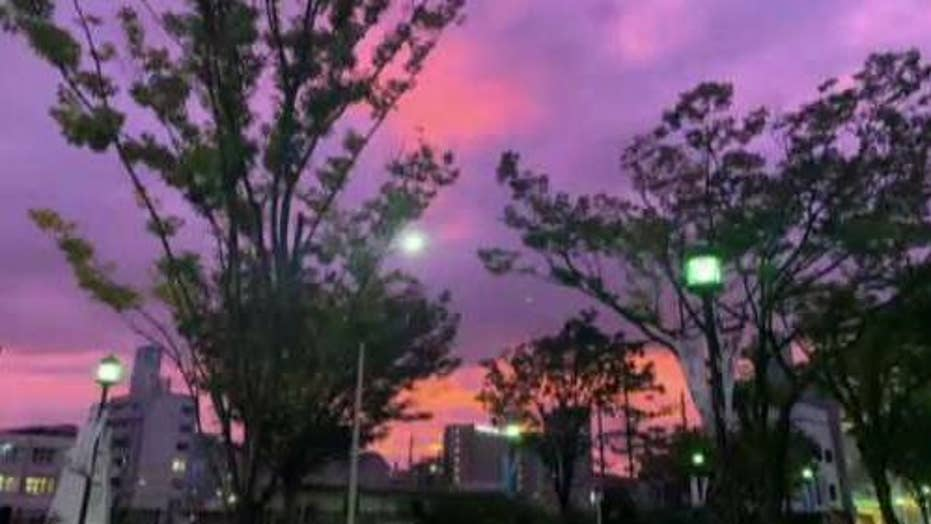 Purple sky warns of dangerous typhoon in Japan