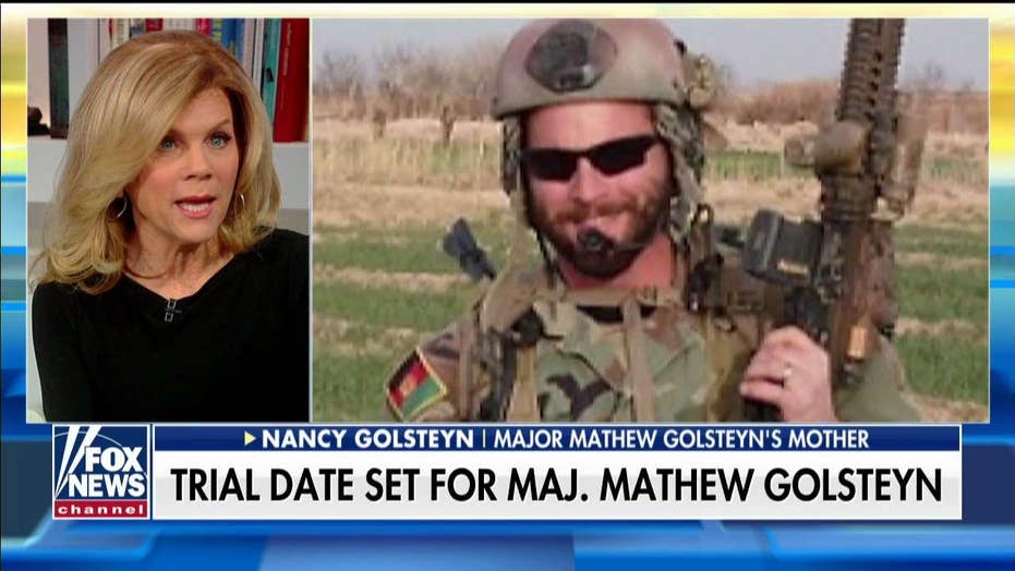 Former Green Beret Mathew Golsteyn's mother discusses his upcoming trial date after a motion hearing on Monday, pleads with President Trump to take action