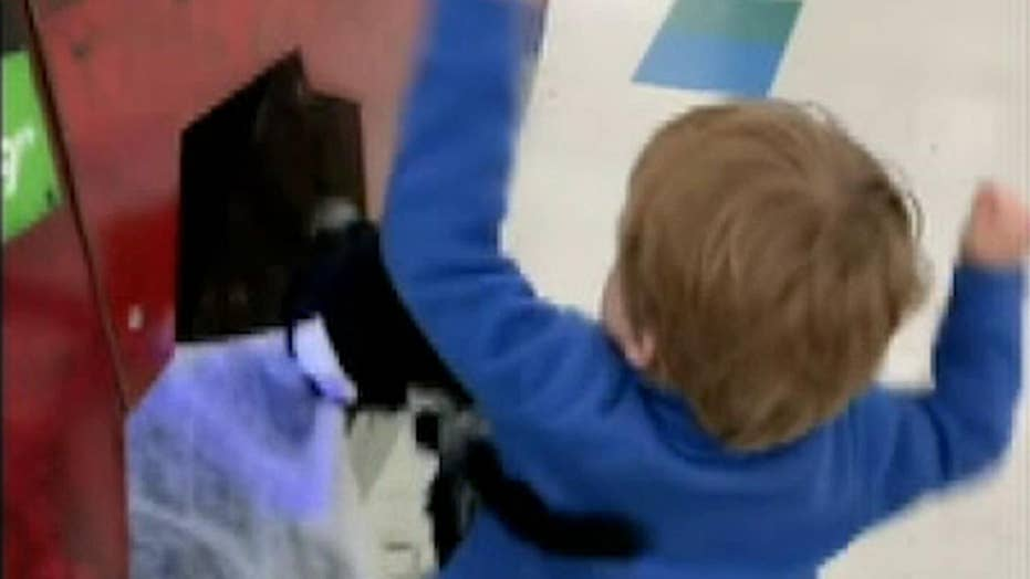 Raw video: Toddler gets into fight with Halloween decoration