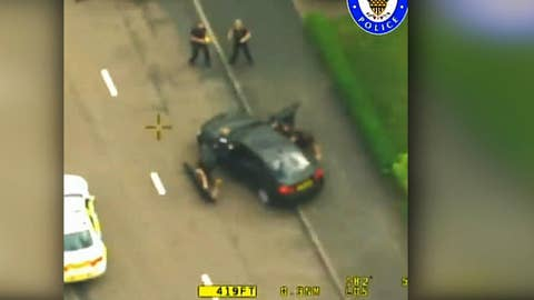 Footage from dramatic chase of hijacked cop car