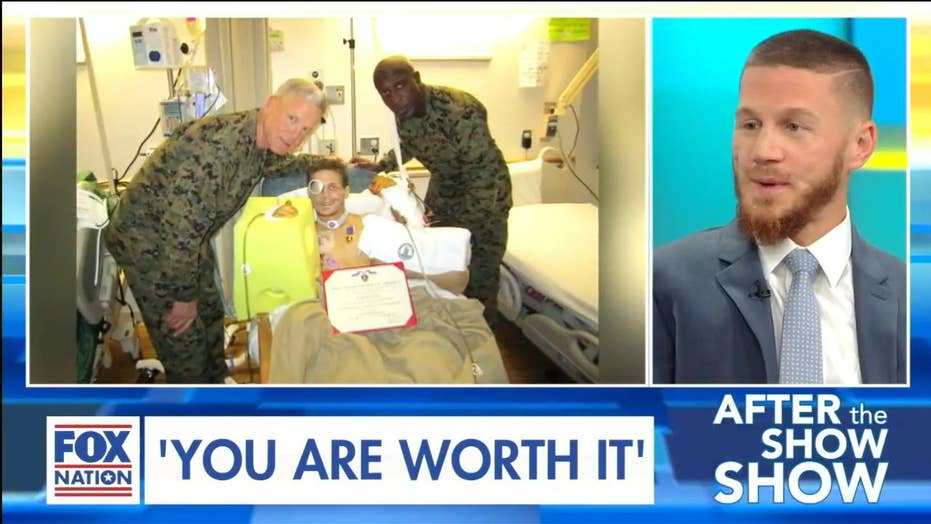 """U.S. Marine who sustained critical injuries after jumping on grenade has message for Americans: """"You are worth it"""""""