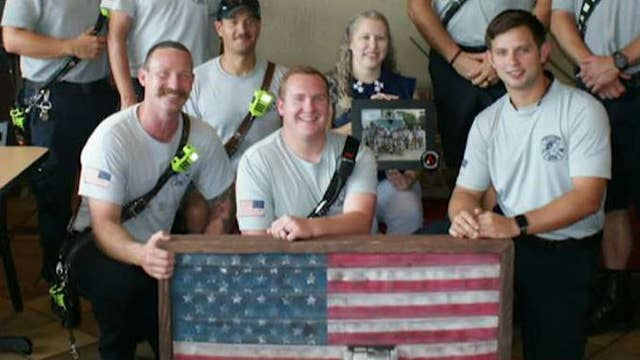 Firefighter turns old fire hoses into American flags
