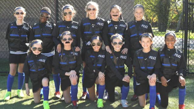 Youth girls soccer team honors police with 'thin blue line' uniforms
