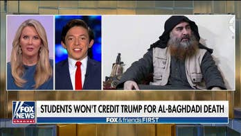 Campus Reform reporter Eduardo Neret reacts as Georgetown students refuse to credit the president for the death of al-Baghdadi