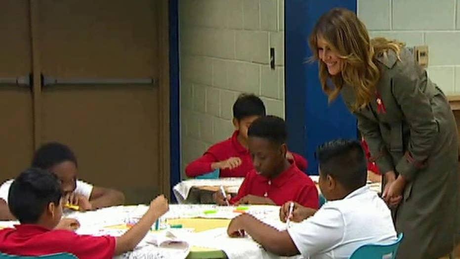 Melania Trump and Karen Pence visit elementary school in Charleston, South Carolina