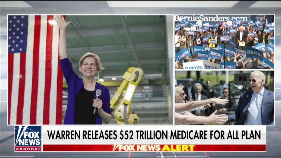 Chris Wallace reacts after frontrunner Warren releases $52 trillion Medicare for All plan