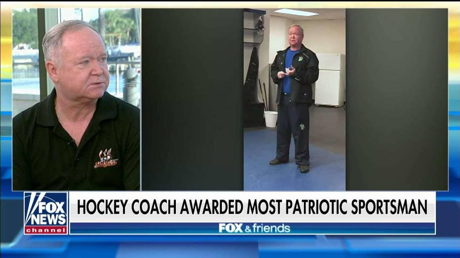 Viral Connecticut hockey coach honored at the Patriot Awards