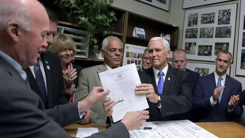 Vice President Pence files primary paperwork for Trump in New Hampshire