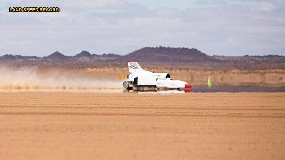 Jet and rocket-powered car designed to break 1,000 mph hits 501 mph in test run