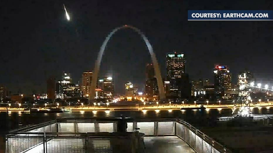 Meteor flashes across the sky over St. Louis