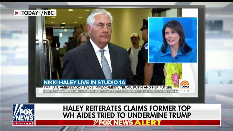 Kellyanne Conway reacts after Nikki Haley reiterates claims former top WH aides tried to undermine Trump