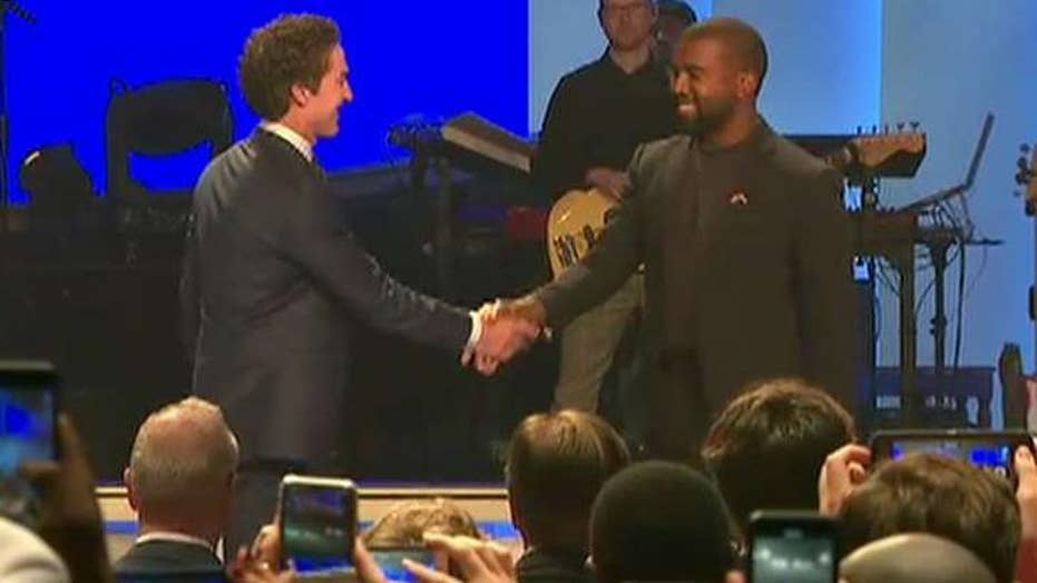 Kanye West takes the stage at Joel Osteen's church