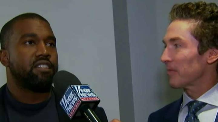 Kanye West talks to Fox News after Sunday service with Joel Osteen