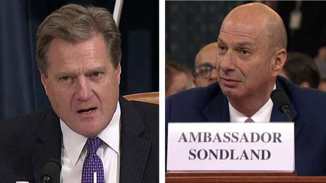 Amb. Gordon Sondland acknowledges that no one told him Trump was tying aid to Ukraine investigations