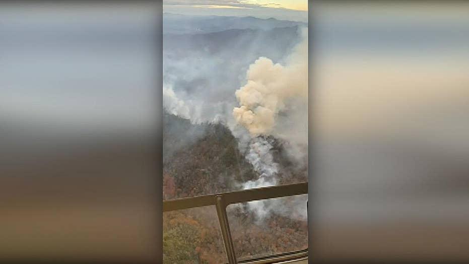 North Carolina's famed Cold Mountain is burning despite the rain