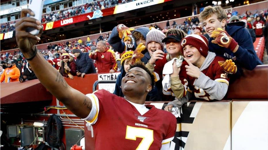 Washington Redskins' Dwayne Haskins takes selfie with fan, misses final snap