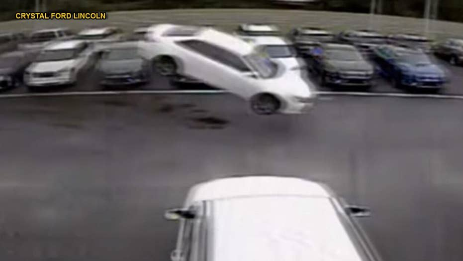 Watch: Toyota Camry launches 139 feet into the air, over two rows of vehicles before landing in parking lot