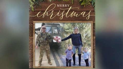 Military wife edits husband into Christmas photo
