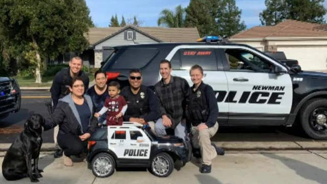 California police officers deliver special gift to son of fallen officer Ronil Singh