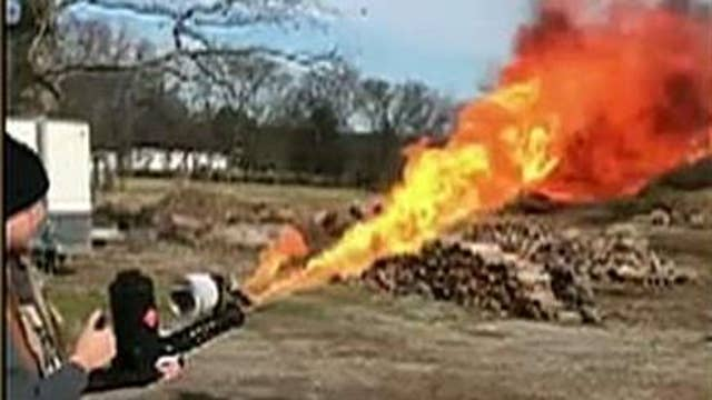 Daughter's Christmas gift goes viral after she buys her dad a flamethrower