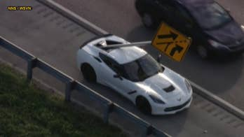 Flying highway sign impales Chevrolet Corvette in Florida