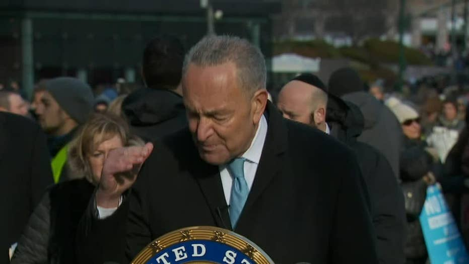 Chuck Schumer speaks at march against anti-Semitism in NYC