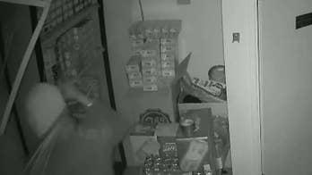 California burglary suspect caught on camera falling through ceiling of tobacco shop